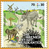 Abbildung: Wohlfahrtsmarke 70+30 Cent Bremer Stadtmusikanten